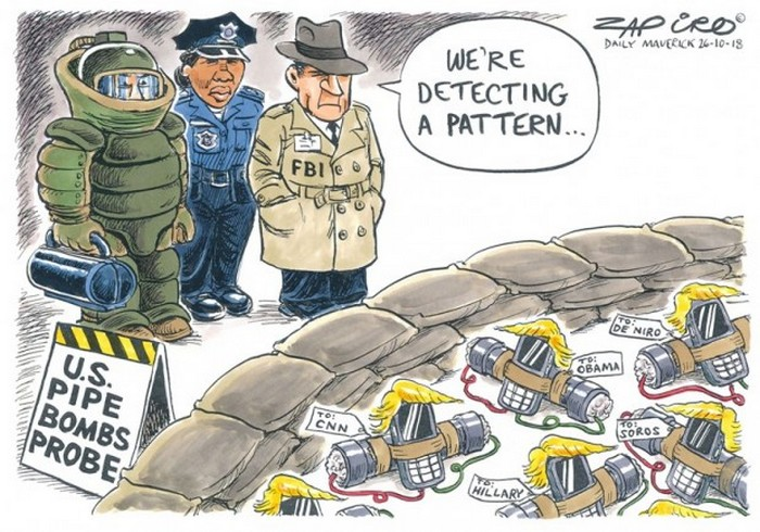 BlackCommentator.com November 01, 2018 - Issue 762: Pipe Bomb Pattern - Political Cartoon By Zapiro, South Africa