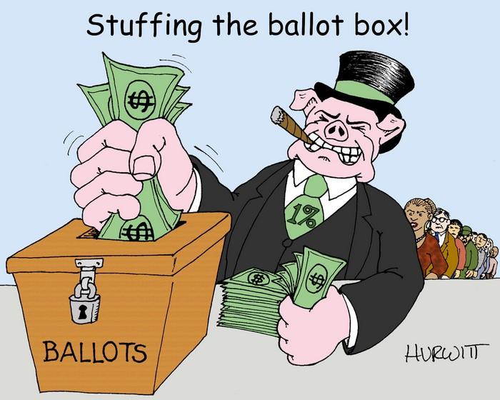 BlackCommentator.com November 08, 2018 - Issue 763: Stuffing the Ballot Box - Political Cartoon By Mark Hurwitt, Brooklyn NY