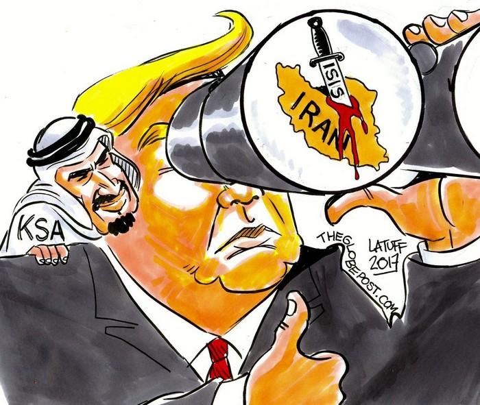 BlackCommentator.com November 08, 2018 - Issue 763: Trump's Middle East Logic - Political Cartoon By Carlos Latuff, Rio de Janeiro Brazil