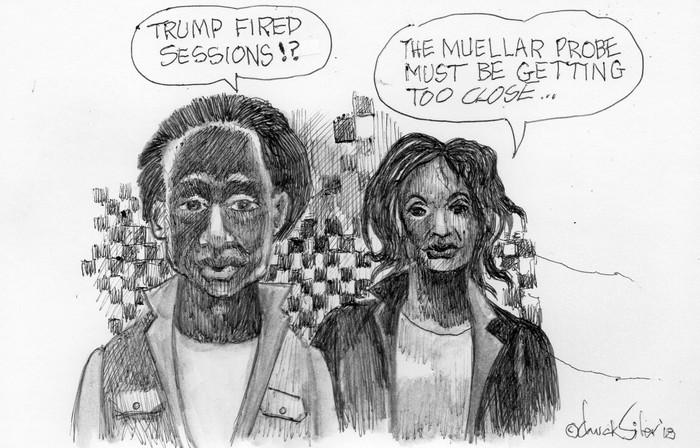 BlackCommentator.com November 15, 2018 - Issue 764: Sessions Firing - Political Cartoon By Chuck Siler, Carrollton TX