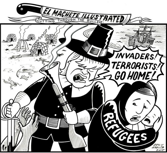 BlackCommentator.com November 22, 2018 - Issue 765: Happy Thanksgiving - Political Cartoon By Eric Garcia, Chicago IL