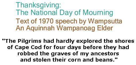 BlackCommentator.com November 22, 2018 - Issue 765: Thanksgiving: The National Day of Mourning - Text of 1970 speech by Wampsutta - An Aquinnah Wampanoag Elder