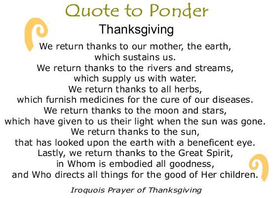 BlackCommentator - November 22, 2018 - Iroquois Prayer of Thanksgiving