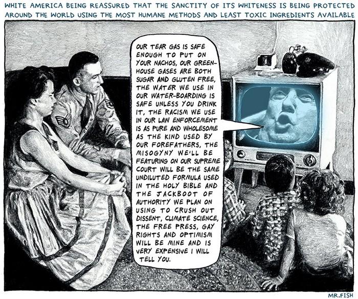 BlackCommentator.com December 06, 2018 - Issue 767: White Alert - Political Cartoon By Mr. Fish, Philadelphia PA