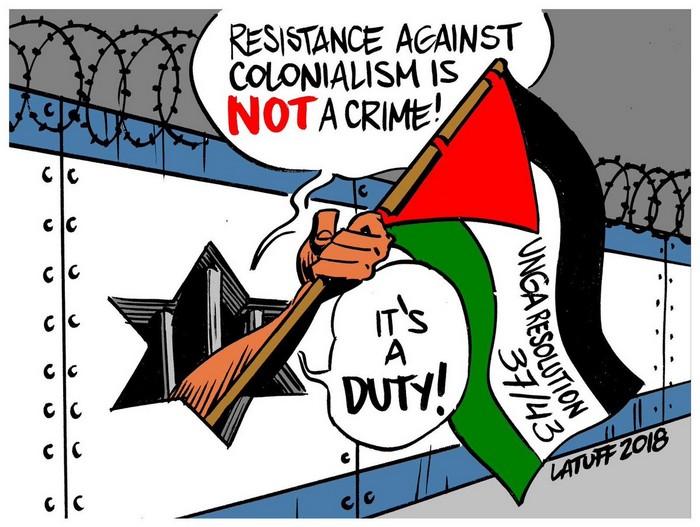 BlackCommentator.com December 13, 2018 - Issue 768: Resistance Against Colonialism - Political Cartoon By Carlos Latuff, Rio de Janeiro Brazil