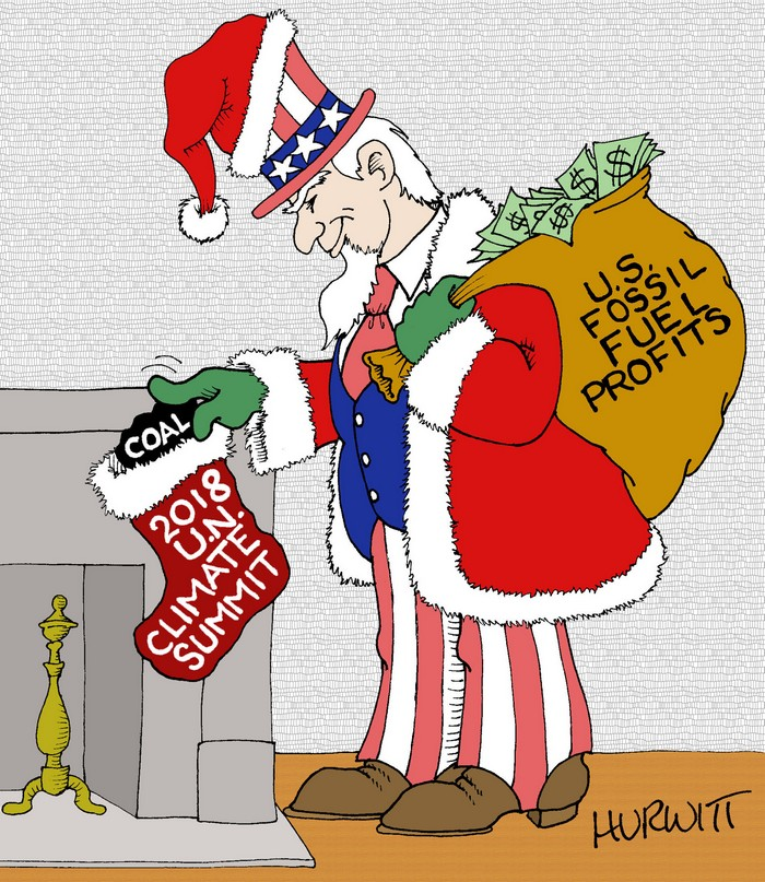 BlackCommentator.com December 20, 2018 - Issue 769: 2018 U.N. Climate Summit - Political Cartoon By Mark Hurwitt, Brooklyn NY