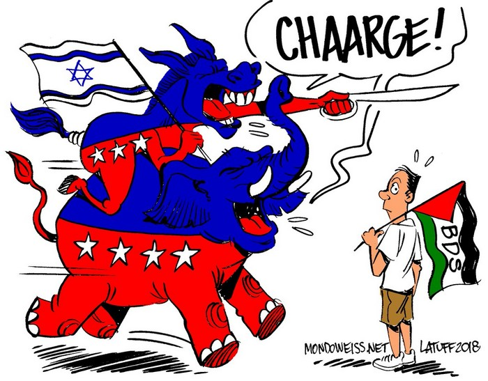 BlackCommentator.com December 20, 2018 - Issue 769: Israel Anti-Boycott Act - Political Cartoon By Carlos Latuff, Rio de Janeiro Brazil