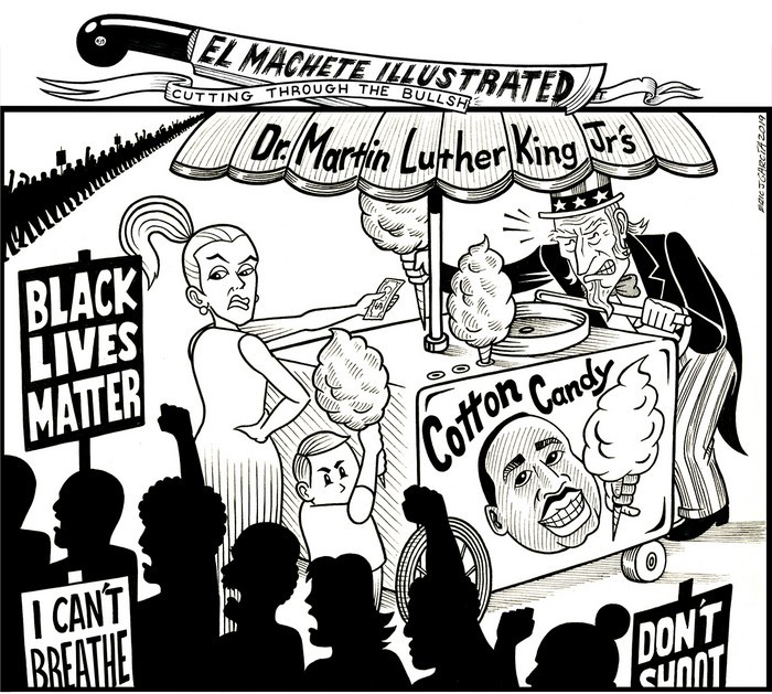 BlackCommentator.com January 24, 2019 - Issue 773: MLK Cotten Candy - Political Cartoon By Eric Garcia, Chicago IL