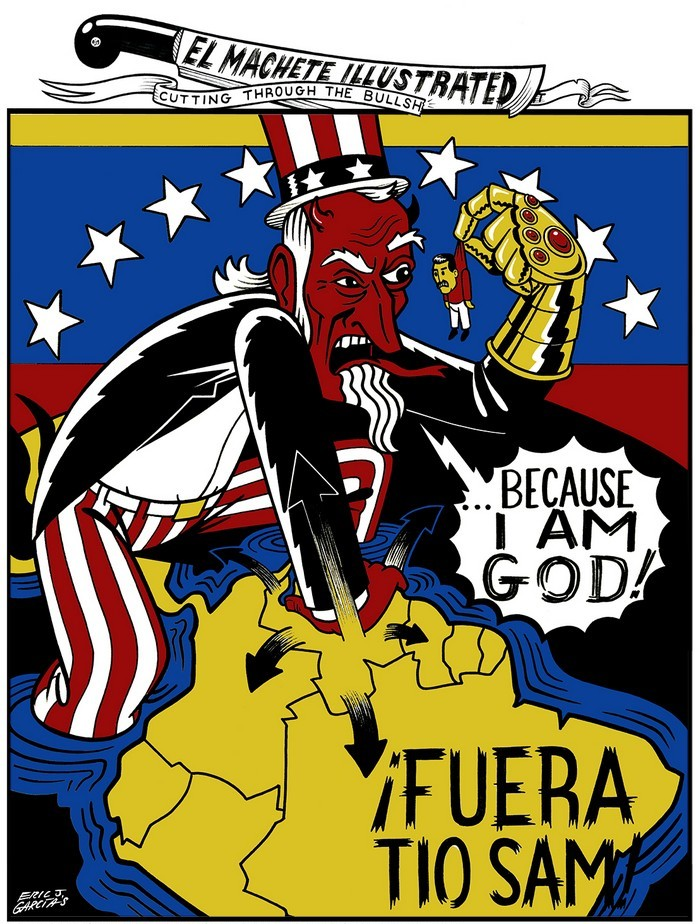 BlackCommentator.com February 07, 2019 - Issue 775: Venezuela -  Ifuera Tio Sam (Get Out, Uncle Sam) - Political Cartoon By Eric Garcia, Chicago IL