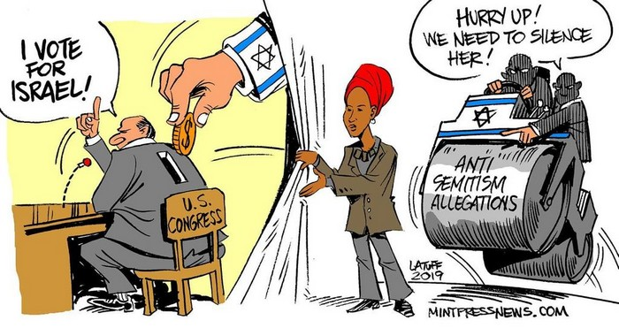 BlackCommentator.com February 21, 2019 - Issue 777: Isreal Lobby - Political Cartoon By Carlos Latuff, Rio de Janeiro Brazil