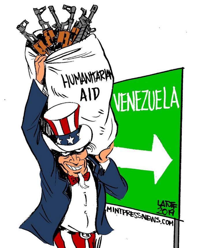BlackCommentator.com February 28, 2019 - Issue 778: U.S. Humanitarian Aid to Venezuela - Political Cartoon By Carlos Latuff, Rio de Janeiro Brazil
