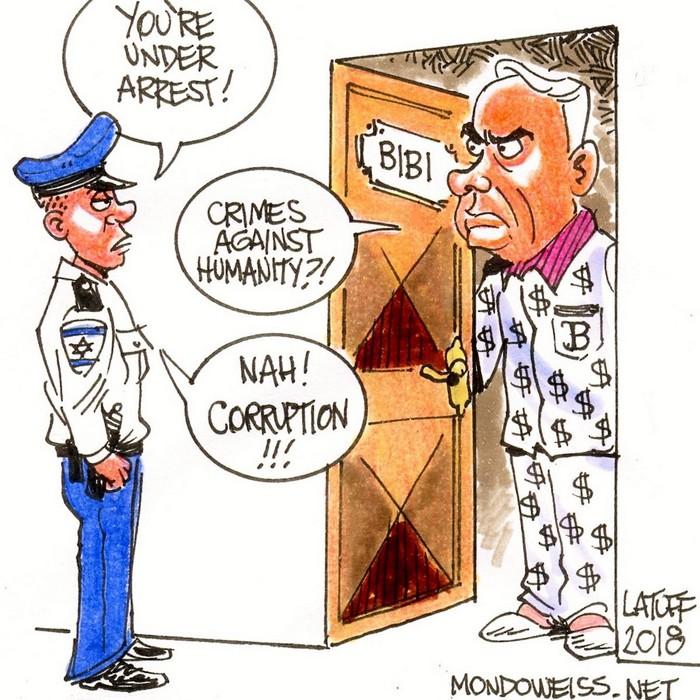 BlackCommentator.com March 07, 2019 - Issue 779: BiBi Netanyahu - Political Cartoon By Carlos Latuff, Rio de Janeiro Brazil