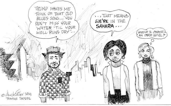 BlackCommentator.com March 14, 2019 - Issue 780: Sahara - Political Cartoon By Chuck Siler, Carrollton TXBlackCommentator.com March 14, 2019 - Issue 780: Sahara - Political Cartoon By Chuck Siler, Carrollton TX