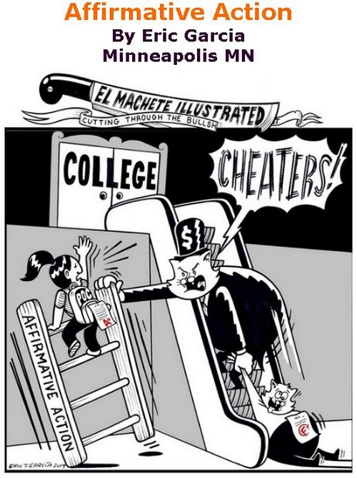 BlackCommentator.com March 21, 2019 - Issue 781: Affirmative Action - Political Cartoon By Eric Garcia, Minneapolis MN