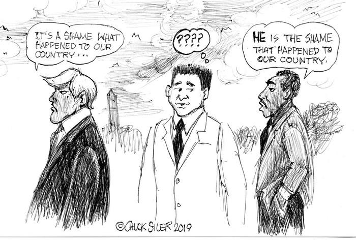 BlackCommentator.com April 04, 2019 - Issue 783: Orange Shame - Political Cartoon By Chuck Siler, Carrollton TX