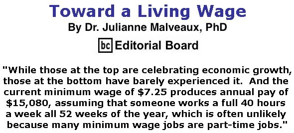 BlackCommentator.com April 04, 2019 - Issue 783: Toward a Living Wage By Dr. Julianne Malveaux, PhD, BC Editorial Board