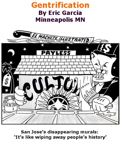 BlackCommentator.com April 11, 2019 - Issue 784: Gentrification - Political Cartoon By Eric Garcia, Minneapolis MN