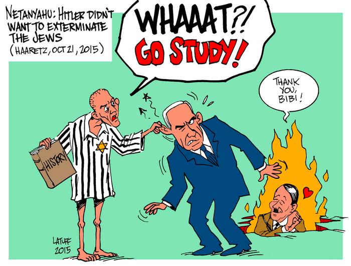 BlackCommentator.com April 11, 2019 - Issue 784: Netanyahu Believes Hitler Did Not Want to Exterminate Jews - Political Cartoon By Carlos Latuff, Rio de Janeiro Brazil