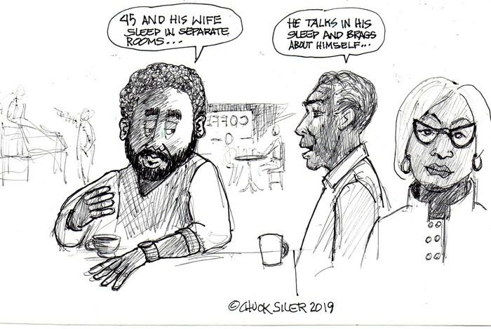 BlackCommentator.com April 11, 2019 - Issue 784: 45 Sleep Bragging - Political Cartoon By Chuck Siler, Carrollton TX