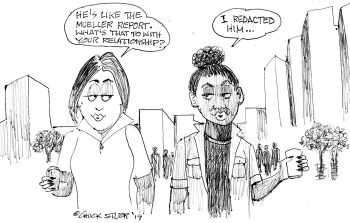 BlackCommentator.com April 25, 2019 - Issue 786: Redacted: Him - Political Cartoon By Chuck Siler, Carrollton TX