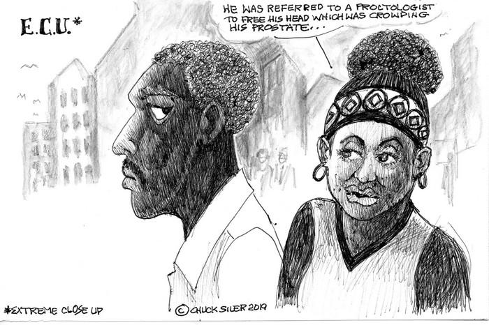 BlackCommentator.com May 02, 2019 - Issue 787: 45 Extreme Closeup - Political Cartoon By Chuck Siler, Carrollton TX