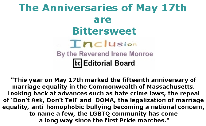 BlackCommentator.com May 23, 2019 - Issue 790: The Anniversaries of May 17th are Bittersweet - Inclusion By The Reverend Irene Monroe, BC Editorial Board