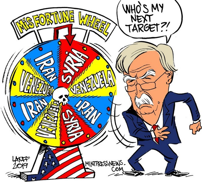 BlackCommentator.com May 30, 2019 - Issue 791: Who's Next in John Bolton's Deadly and Dirty Game? - Political Cartoon By Carlos Latuff, Rio de Janeiro Brazil