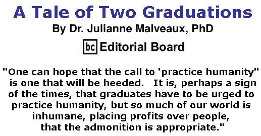 BlackCommentator.com June 20, 2019 - Issue 794: A Tale of Two Graduations By Dr. Julianne Malveaux, PhD, BC Editorial Board