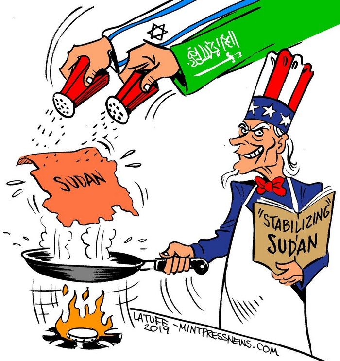 "BlackCommentator.com June 27, 2019 - Issue 795: US Recipe for ""Stabilizing"" Sudan - Political Cartoon By Carlos Latuff, Rio de Janeiro Brazil"