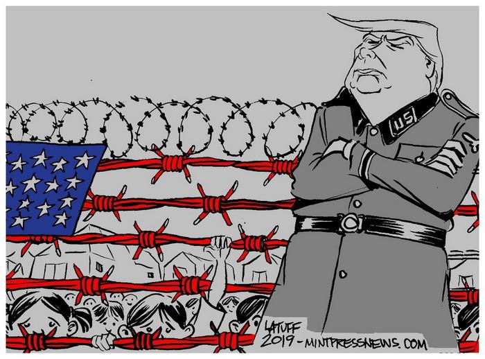 BlackCommentator.com July 04, 2019 - Issue 796: Trump's Camps - Political Cartoon By Carlos Latuff, Rio de Janeiro Brazil