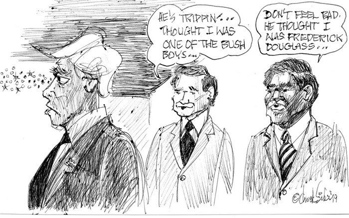 BlackCommentator.com July 18, 2019 - Issue 798: 45 Trippin' - Political Cartoon By Chuck Siler, Carrollton TX
