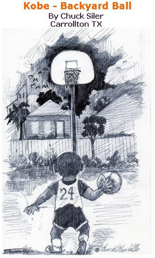 BlackCommentator.com Jan 30, 2020 - Issue 803: Kobe - Backyard Ball - Political Cartoon By Chuck Siler, Carrollton TX