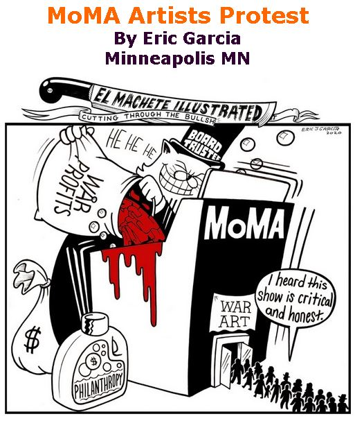 BlackCommentator.com Feb 13, 2020 - Issue 805: MoMA Artists Protest - Political Cartoon By Eric Garcia, Minneapolis MN