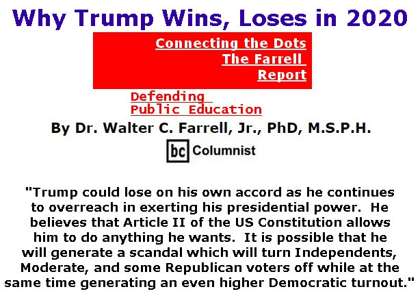 BlackCommentator.com Feb 13, 2020 - Issue 805: Why Trump Wins, Loses in 2020 - Connecting the Dots - The Farrell Report - Defending Public Education By Dr. Walter C. Farrell, Jr., PhD, M.S.P.H., BC Columnist
