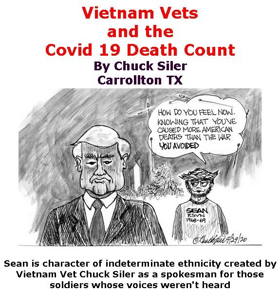 BlackCommentator.com May 14, 2020 - Issue 818: Vietnam Vets and the Covid 19 Death Count - Political Cartoon By Chuck Siler, Carrollton TX