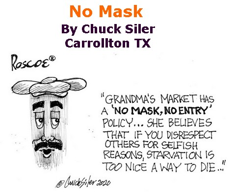 BlackCommentator.com June 04, 2020 - Issue 821: No Mask - Political Cartoon By Chuck Siler, Carrollton TX