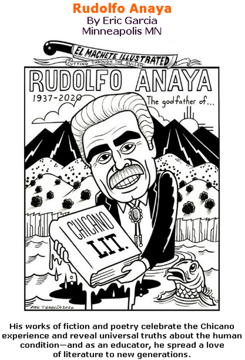 BlackCommentator.com July 09, 2020 - Issue 826: Rudolfo Anaya - Political Cartoon By Eric Garcia, Minneapolis MN