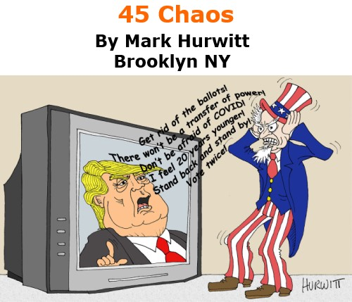 BlackCommentator.com Oct 8, 2020 - Issue 836: 45 Chaos - Political Cartoon By Mark Hurwitt, Brooklyn NY