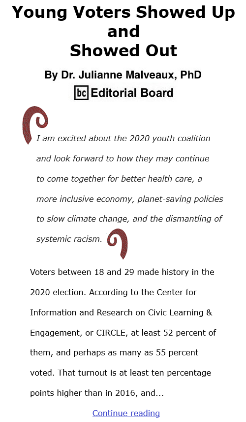 BlackCommentator.com Dec 3, 2020 - Issue 844: Young Voters Showed Up and Showed Out By Dr. Julianne Malveaux, PhD, BC Editorial Board