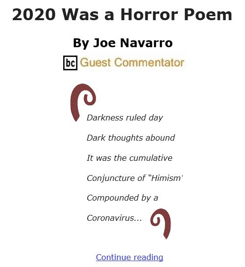 BlackCommentator.com Jan 7, 2021 - Issue 847: 2020 Was a Horror Poem By Joe Navarro, BC Guest Commentator