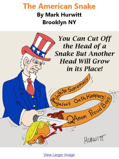 BlackCommentator.com Jan 21, 2021 - Issue 849: The American Snake - Political Cartoon By Mark Hurwitt, Brooklyn NY