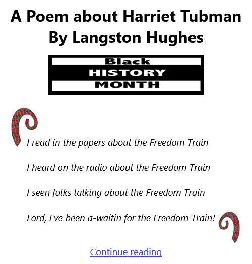 BlackCommentator.com Feb 4, 2021 - Issue 851: A Poem about Harriet Tubman By Langston Hughes - Black History Monthly