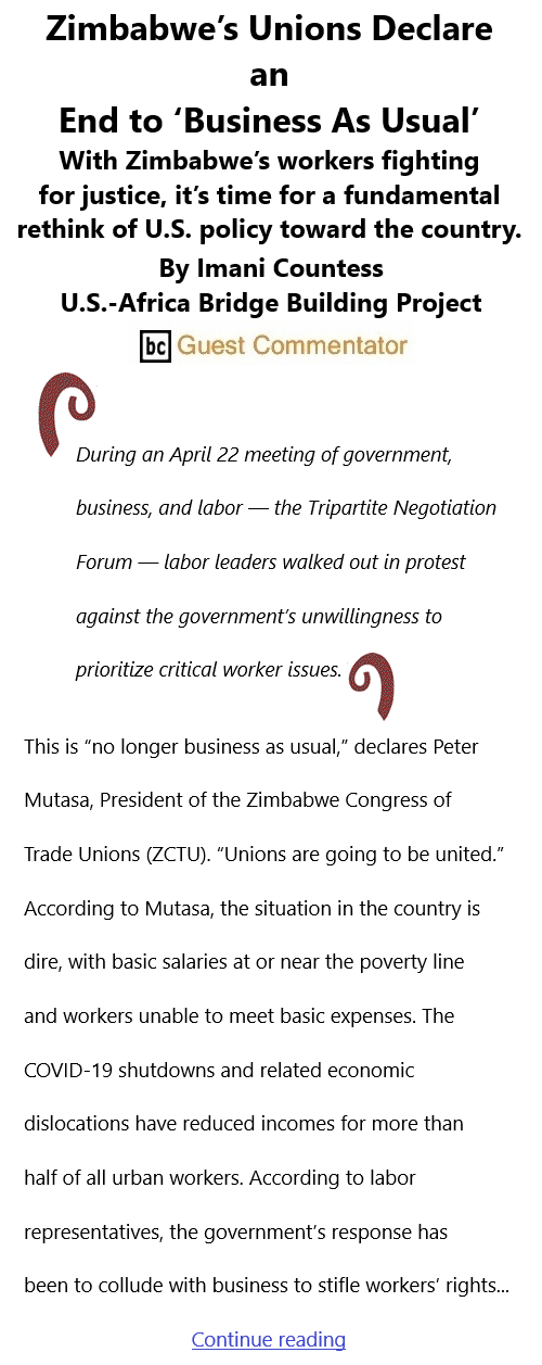 BlackCommentator.com May 13, 2021 - Issue 865: Zimbabwe's Unions Declare an End to 'Business As Usual' By Imani Countess, U.S.-Africa Bridge Building Project, BC Guest Commentator