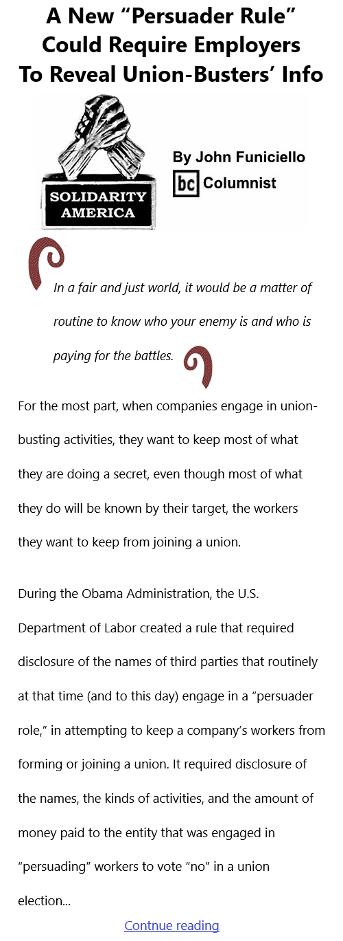 """BlackCommentator.com June 17, 2021 - Issue 870: A New """"Persuader Rule"""" Could Require Employers To Reveal Union-Busters' Info - Solidarity America By John Funiciello, BC Columnist"""