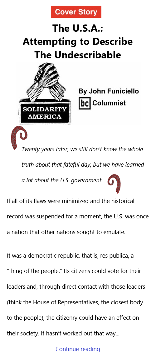 BlackCommentator.com Sept 16, 2021 - Issue 879 Cover Story: The U.S.A.: Attempting to Describe The Undescribable - Solidarity America By John Funiciello, BC Columnist
