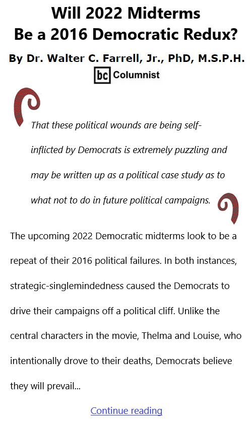 BlackCommentator.com Oct 21, 2021 - Issue 884: Will 2022 Midterms Be a 2016 Democratic Redux? By Dr. Walter C. Farrell, Jr., PhD, M.S.P.H., BC Columnist